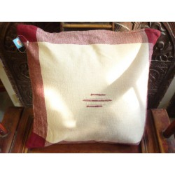 Coperchio 40x40 cm off-white / bordeaux cuciture