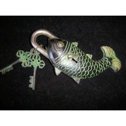 Bronzo lucchetto Green Fish
