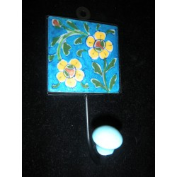 8x8 cm Turchese 2 fiori gialli